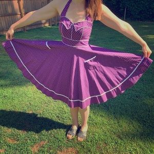 Purple polka dot halter dress with pockets